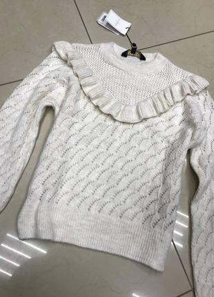 Нежный масляный свитерок с узором короткий новый