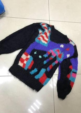 Шерстяной черный свитер с узором новый