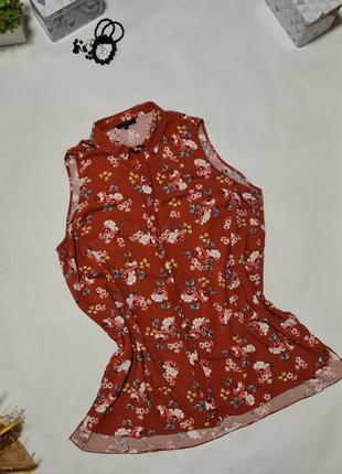 Удлиненная блуза без рукава,  в цветочный принт
