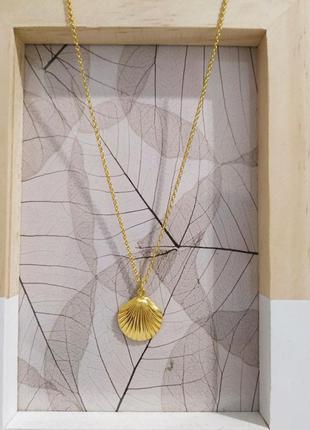 Позолоченное колье цепочка tom shot подвеска ракушка мушля asos ожерелье покрытие золото 14к
