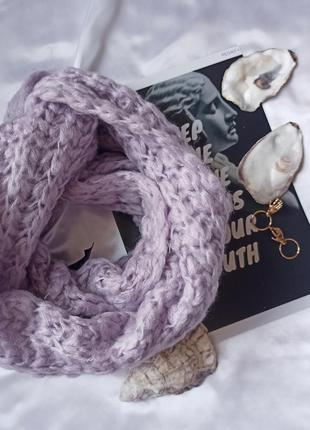 Бузковий ніжний снуд крупної в'язки в стиле zara крупная вязка сереневый шарф