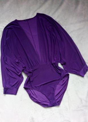 Фиолетовое боди-кимоно глубокий вырез