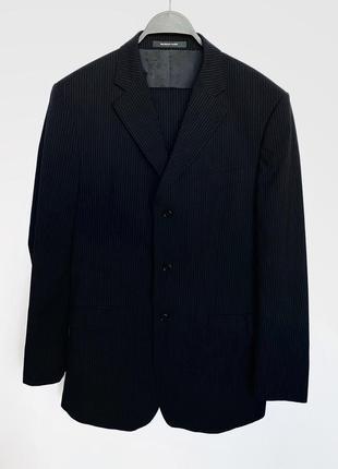 Чёрный костюм из смесовой шерсти в мелкую полоску balmain оригинал
