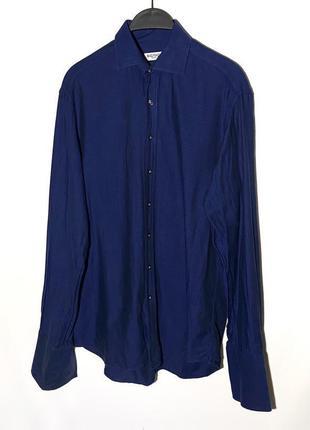 Синяя рубашка в полоску на запанки balmain paris оригинал