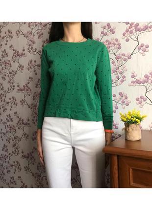 Короткий зеленый свитшот в горошек. пятнышко
