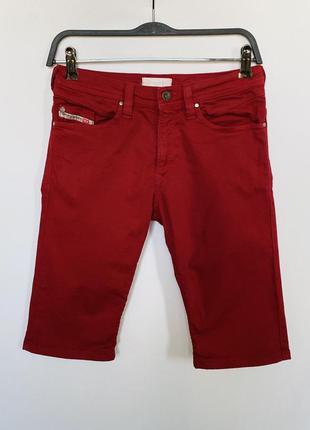 Красные джинсовые шорты велосипедки diesel с логотипом вышивкой на кармане оригинал