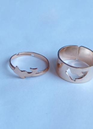 Набор парных колец кольцо дельфин с регулируемым размером