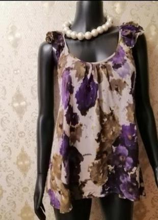 Фирменное шелковое блузка