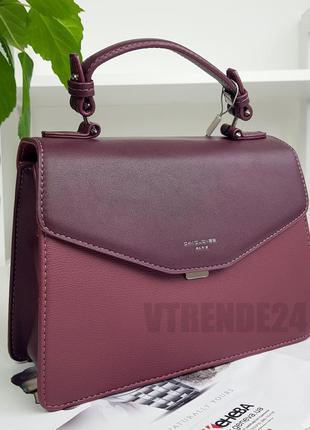 Стильная женская деловая сумка кроссбоди женский клатч #5819-2 bordo david jones