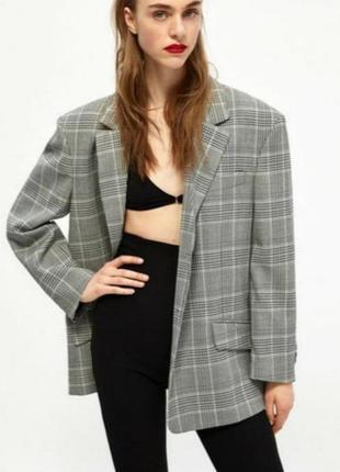 Zara трендовый удлинённый пиджак свободного кроя в клетку, пиджак оверсайз, жакет, удлинённый блейзер оверсайз в клетку, блейзер свободного кроя
