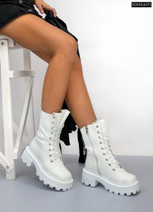 Ботинки женские кожаные белые