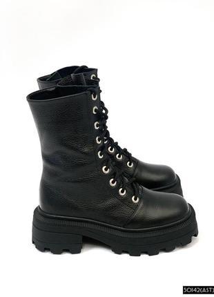 Ботинки женские чёрные с квадратным передом