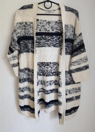 Кардиган жакет пальто в полоску трикотажное вязаное полосатое для осеней фотосессии