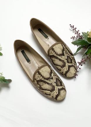 Балетки бабуши лоферы туфли лодочки змеиный принт