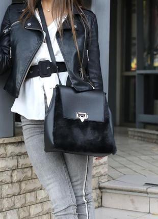 Черный меховой рюкзак молодежная женская сумка-рюкзак трансформер с мехом