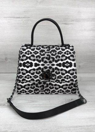 Леопардовая мини сумка портфель маленькая модная сумочка через плечо черно-белая кросс боди