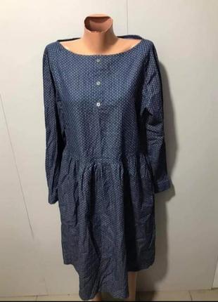 Плаття міді синє в горошок