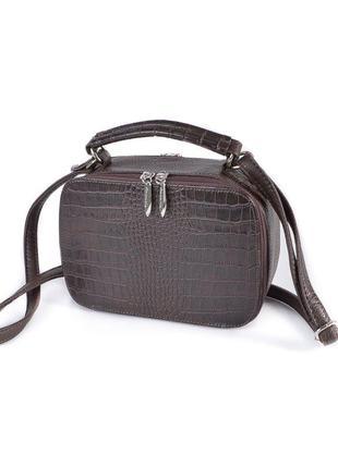 Кросс боди мини сумка темно коричневая маленькая сумочка на молнии через плечо