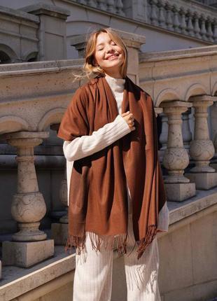 Двосторонній кашеміровий шарф шоколадного кольору