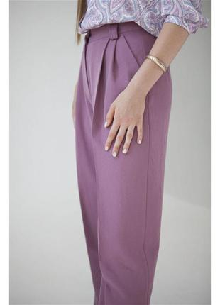 Лавандовые брюки со складками / брюки-палаццо /