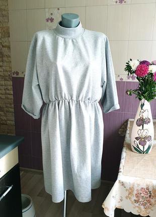 Новое меланжевое bohho батальное платье на флисе утепленное