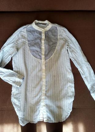 Базовая удлиненная рубашка в полоску zara