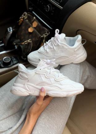 Adidas ozweego white 🍏 белые женские мужские кроссовки адидас озвиго