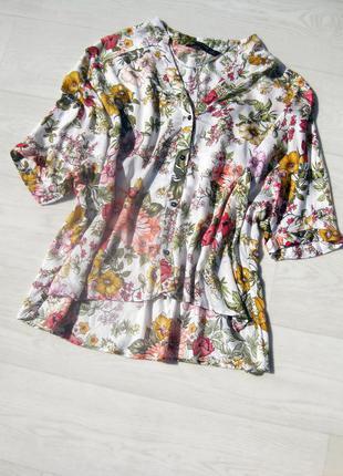 Яркая рубашка блуза zara белая разноцветная цветочный принт вискоза