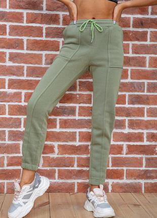 Спорт штаны женские на флисе цвет оливковый