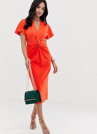 Ted baker платье миди футляр карандаш по фигуре классическое длинное оранжевое