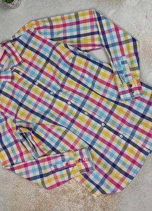 Блуза рубашка красивая хлопковая в клетку joules uk 12/40/m