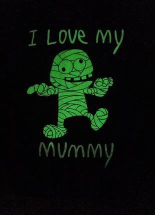 Черная хлопковая кофта реглан лонгслив свитшот худи футболка с длинным рукавом люблю маму светящийся рисунок 1,5 2 года светится в темноте