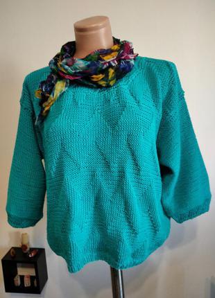 Красивый бирюзовый пуловер оверсайз hand made.