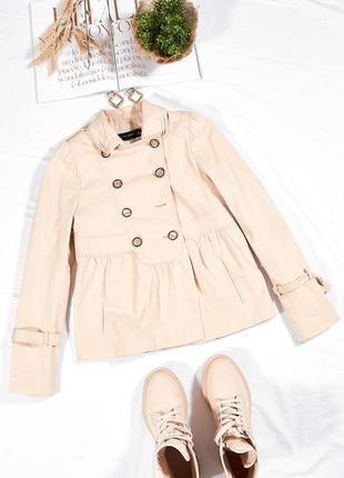 Женское пальто короткое, женский тренч бежевый, бежевый тренч осенний, бежевый плащ