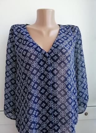 Блуза женская синяя белая