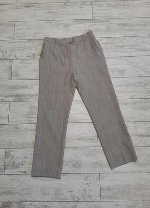 Штаны, брюки классические ,бежево-серые, теплые, шерсть 43%