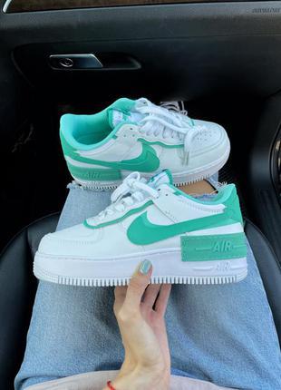 Женские кроссовки nike air force shadow white green