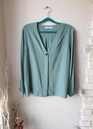 Стильная серо-бирюзовая блуза mango