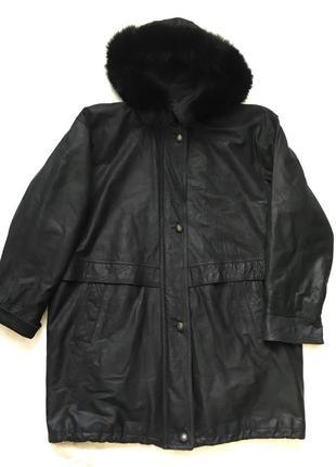 Длинная кожаная куртка кожа / еврозима пальто