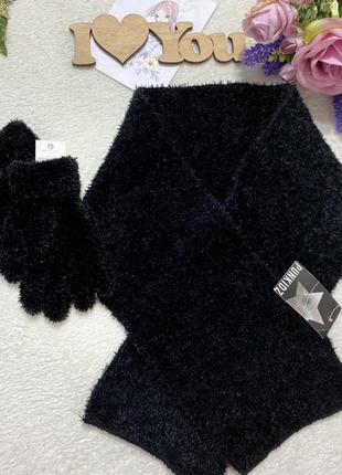 Комплект на девочку, шарф+перчатки