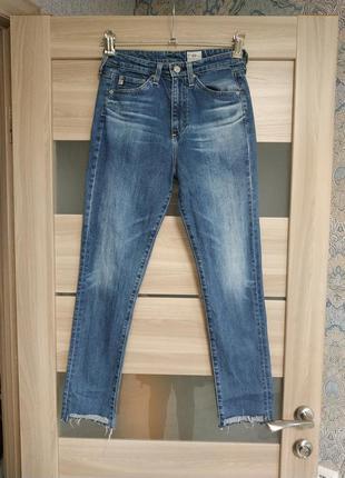 Шикарные джинсы высокая посадка необработанный низ