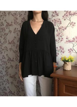 Красивая чёрная блуза с v-образным вырезом 14 42 xl. нюанс