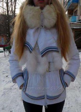 Куртка пуховик з декоративним галстуком, песець s