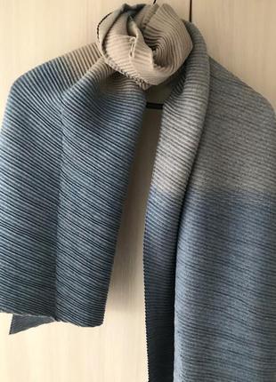 Кашемировый гофрированный шарф cashmere / цвет светло-синий, джинс / градиент