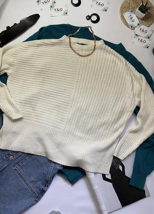 Трендовый укороченный молочный свитер светр в идеальном состоянии оверсайз🖤primark🖤