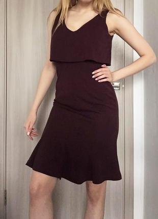 Платье h&m миди бордовое облегающее