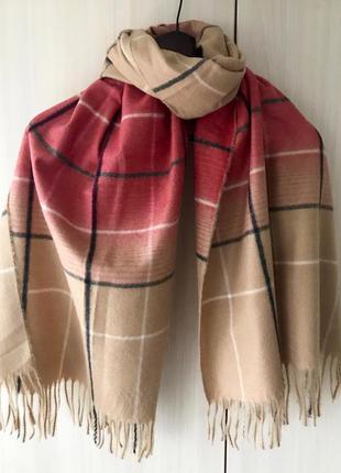 Кашемировый шарф в крупную клетку cashmere / бежевый, красный