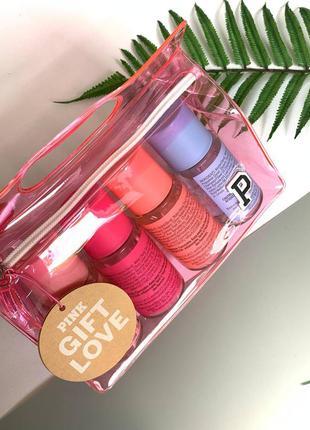 Набор парфюмированных спреев victoria`s secret pink gift set 4 body mist spray, 4 шт. в наборе