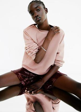 Свитшот на флисе кофта короткая коттон пудровый розовый кроп топ с подплечниками zara s m oversize