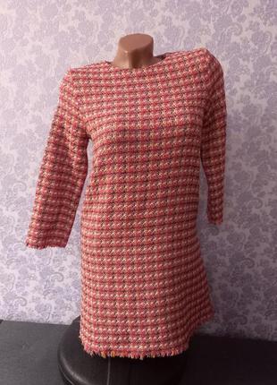 Платье zara из твида, платье теплое женское